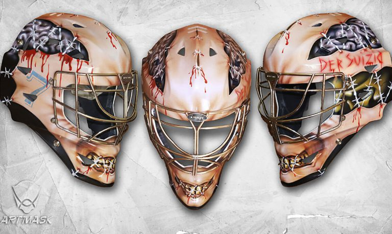 Аэрография «Любительская лига 2013» на вратарском шлеме