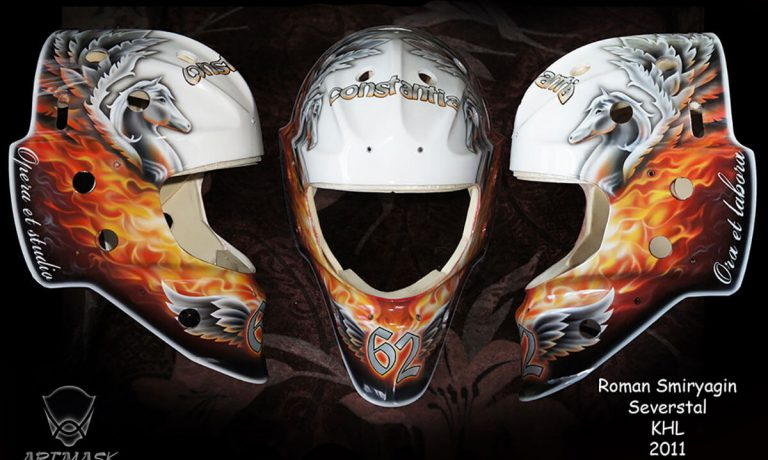 Аэрография «Пегас» на вратарском шлеме