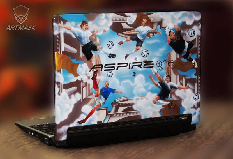 Аэрография «Звезды футбола» на нетбуке Acer Aspire One