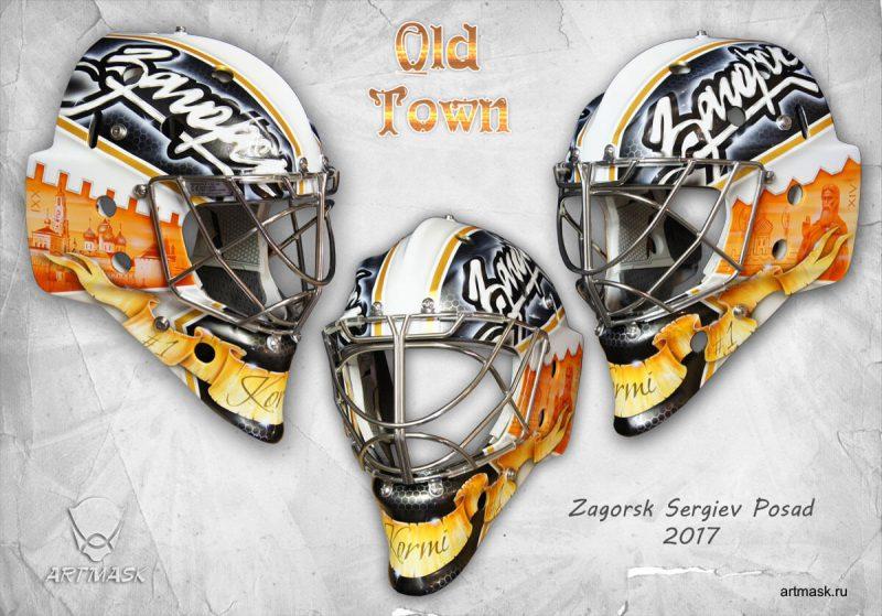 Аэрография  «Old Town» на вратарском шлеме