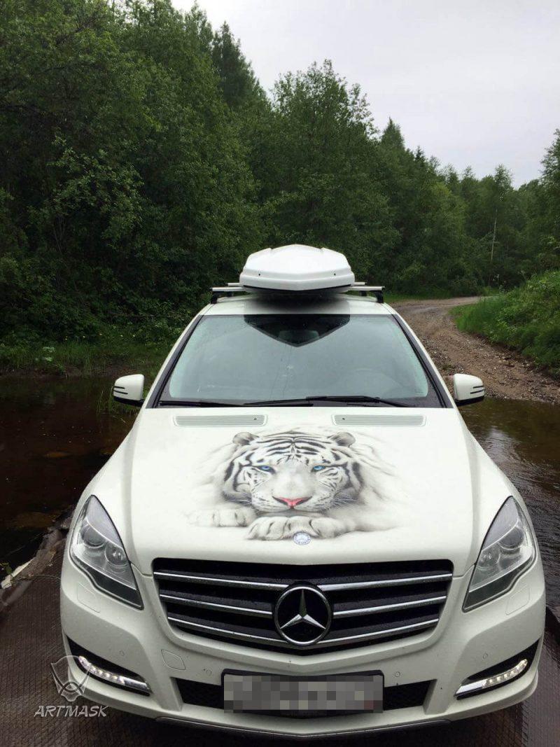 "Аэрография ""Затаившаяся мощь"" на Mercedes R350"