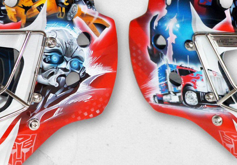 Аэрография «Transformers» на вратарском шлеме
