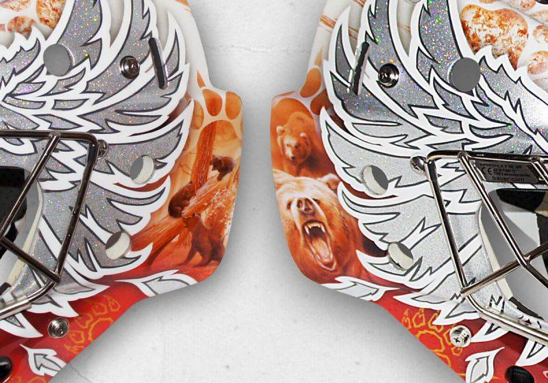 Аэрография «Wings of the Phoenix» на вратарском шлеме