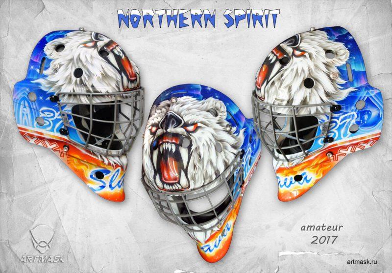 Аэрография «Дух севера» на вратарском шлеме
