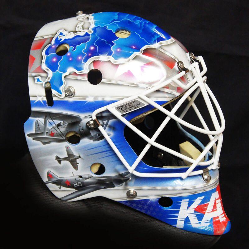 Аэрография «The Patriotic Mask» на вратарском шлеме