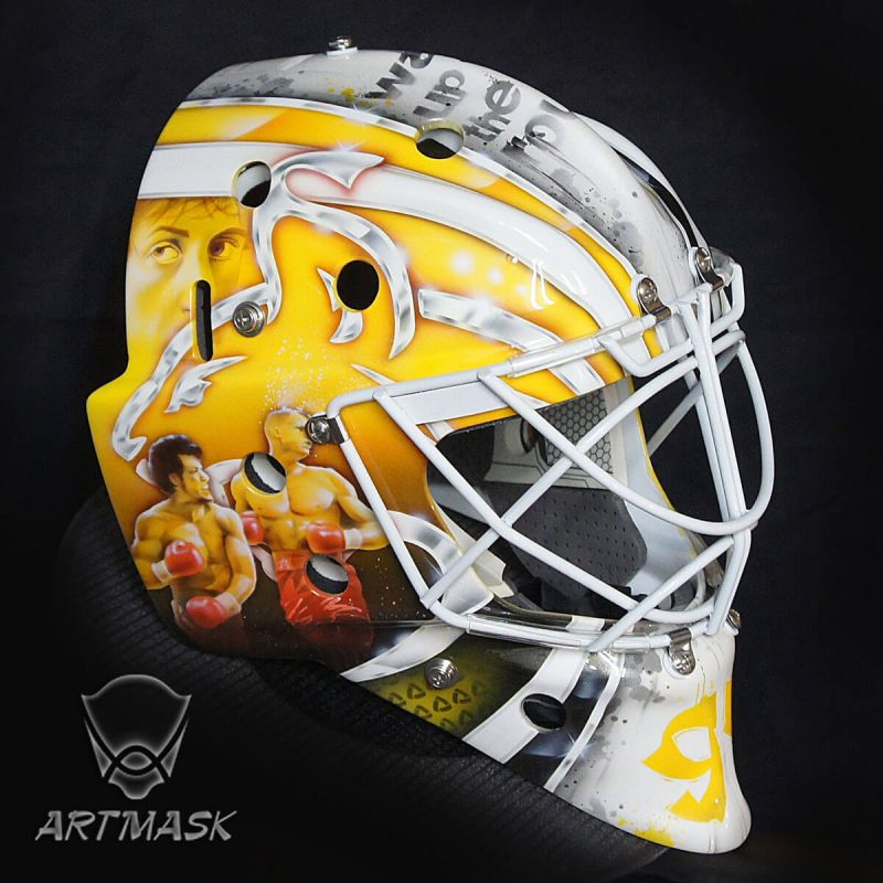 Аэрография «Rocky and Hockey» на вратарском шлеме