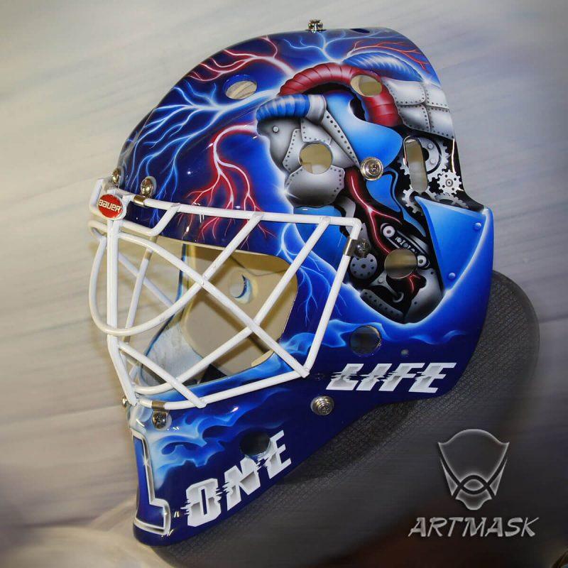 Аэрография «Dynamo Heart» на вратарском шлеме