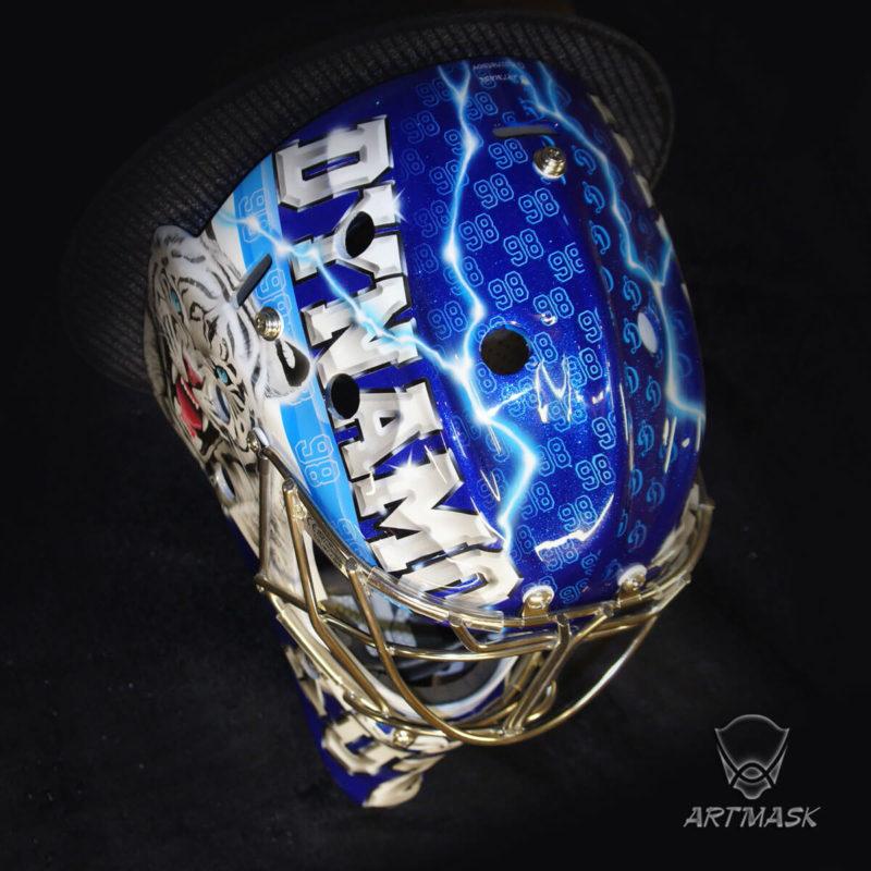 "Аэрография ""Dynamo Daring""на вратарском шлеме"
