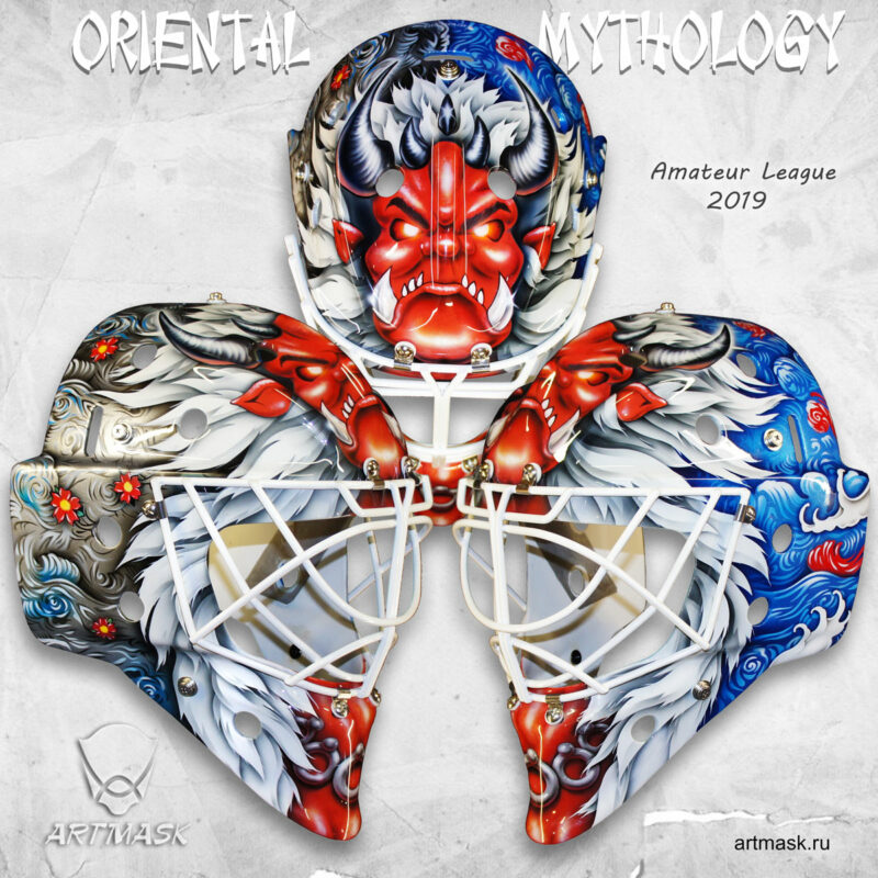 "Аэрография ""Oriental Mythology"" на вратарском шлеме"