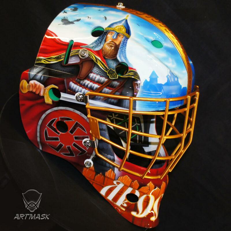 Аэрография «Equanimity and Bravery» на вратарском шлеме