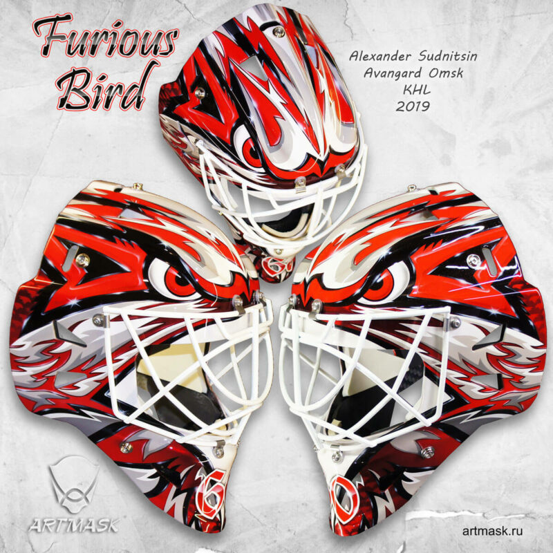 """Аэрография """"Furious Bird"""" на вратарском шлеме"""