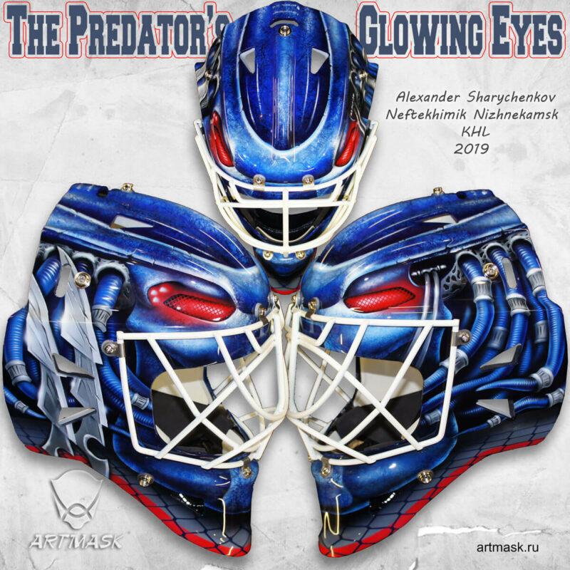 """Аэрография """"The Predators Glowing Eyes"""" на вратарском шлеме"""
