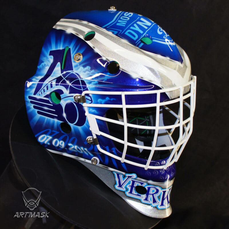 "Аэрография ""V-Mask"" на вратарском шлеме"