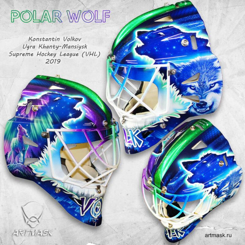 "Аэрография ""Polar Wolf"" на вратарском шлеме"