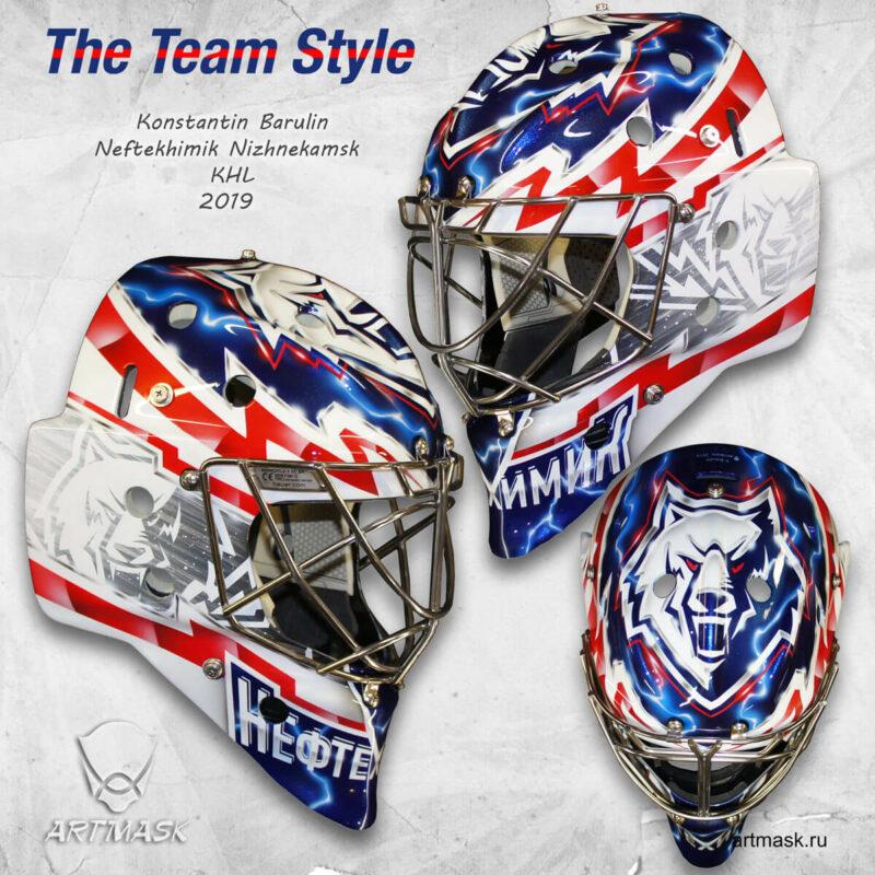"""Аэрография """"The Team Style"""" на вратарском шлеме"""