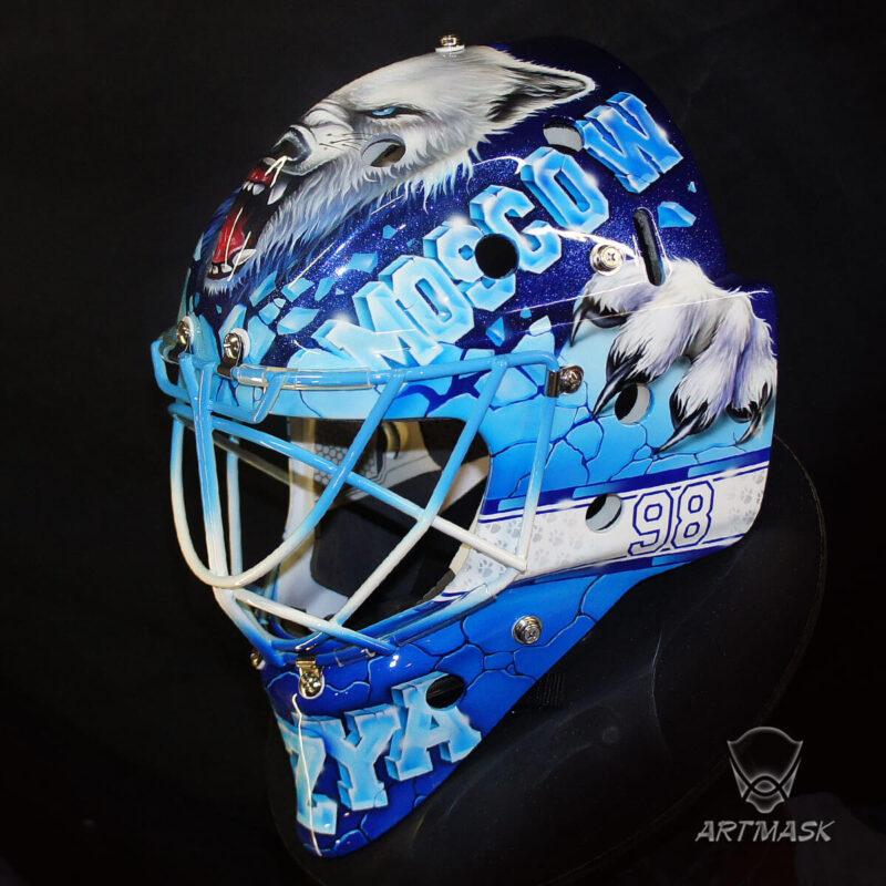 """Аэрография """"Icy Mask"""" на вратарском шлеме"""
