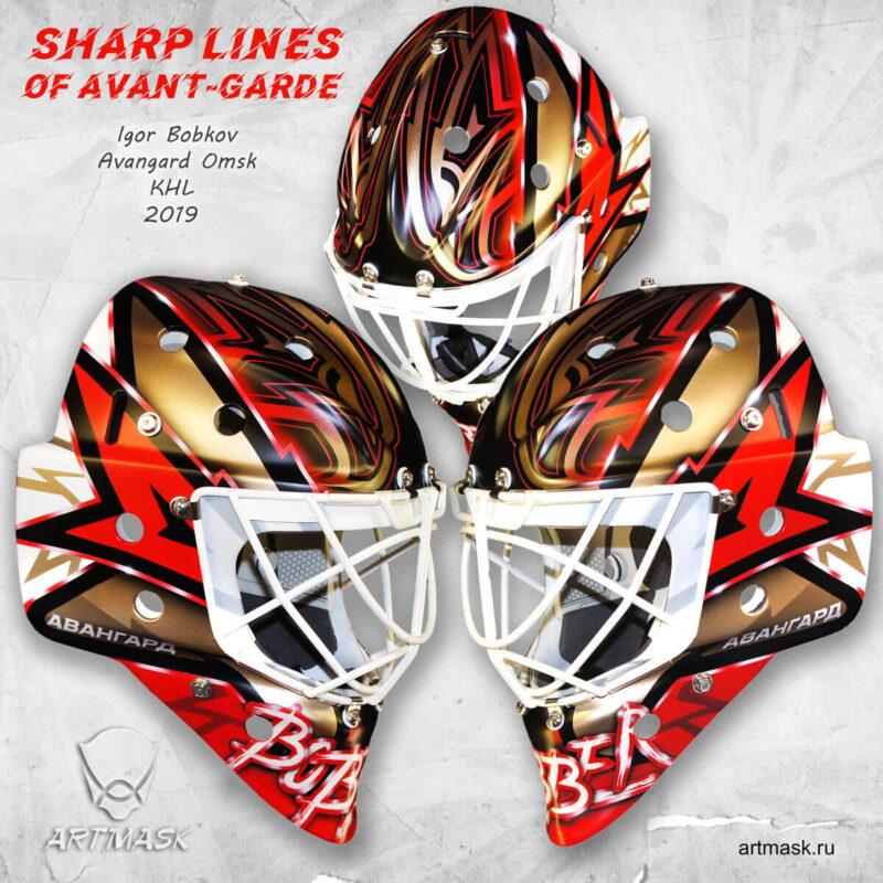 """Аэрография """"Sharp Lines of Avant-garde"""" на вратарском шлеме"""
