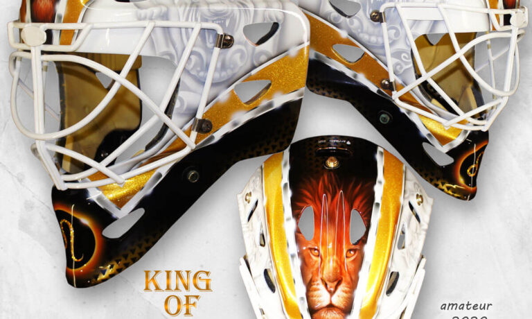 """Аэрография """"King of Animals"""" на вратарском шлеме"""