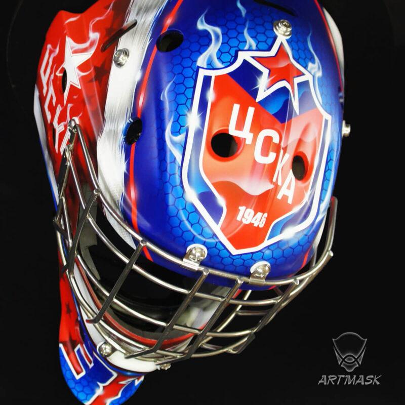 """Аэрография """"Legendary Club Style"""" на вратарском шлеме"""