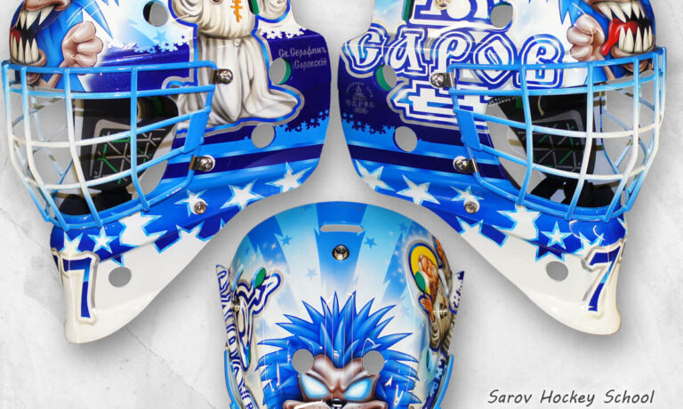 "Аэрография ""Saint Seraphim"" на вратарском шлеме"