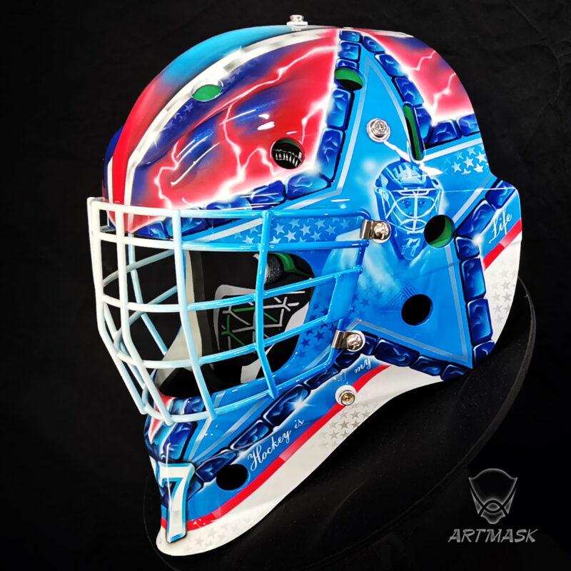 """Аэрография """"When Hockey is Life"""" на вратарском шлеме"""