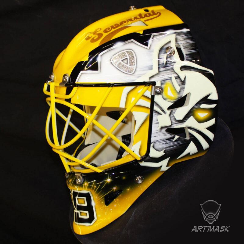 """Аэрография """"Boasting Yellow"""" на вратарском шлеме"""