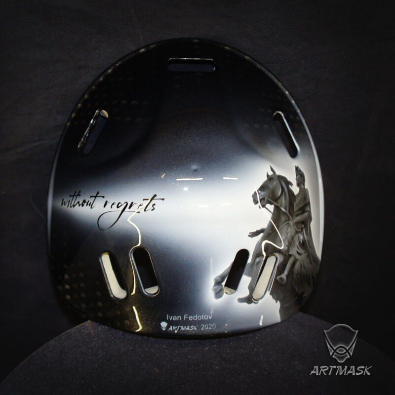 "Аэрография ""Dangerous Mechanism"" на вратарском шлеме"