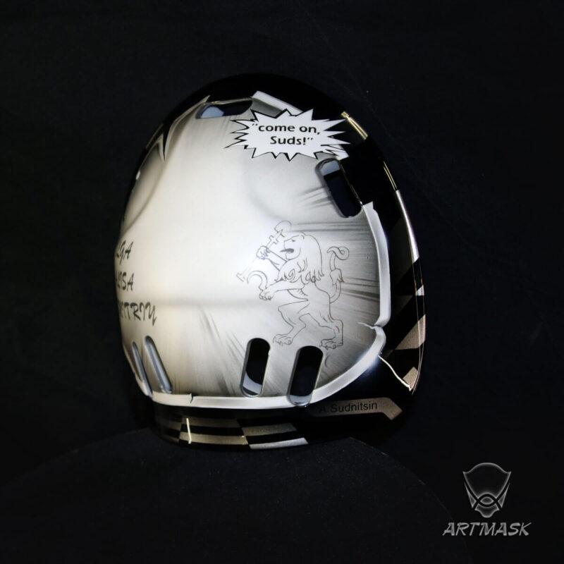 "Аэрография ""Old but not Obsolete"" на вратарском шлем"