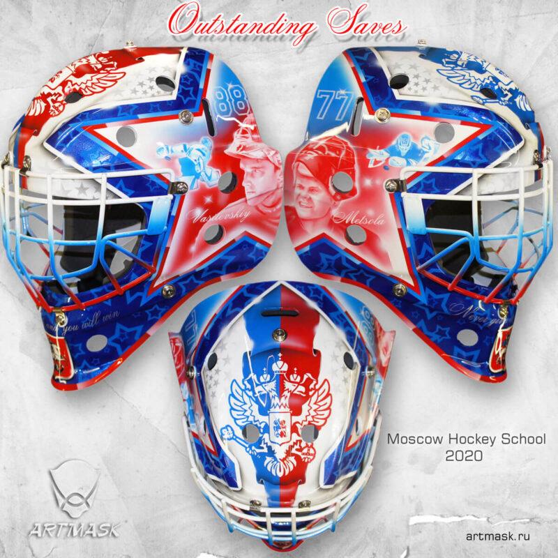 """Аэрография """"Outstanding Saves"""" на вратарском шлеме"""