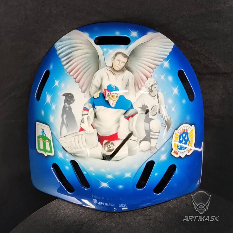 """Аэрография """"Love for Air Force"""" на вратарском шлеме"""