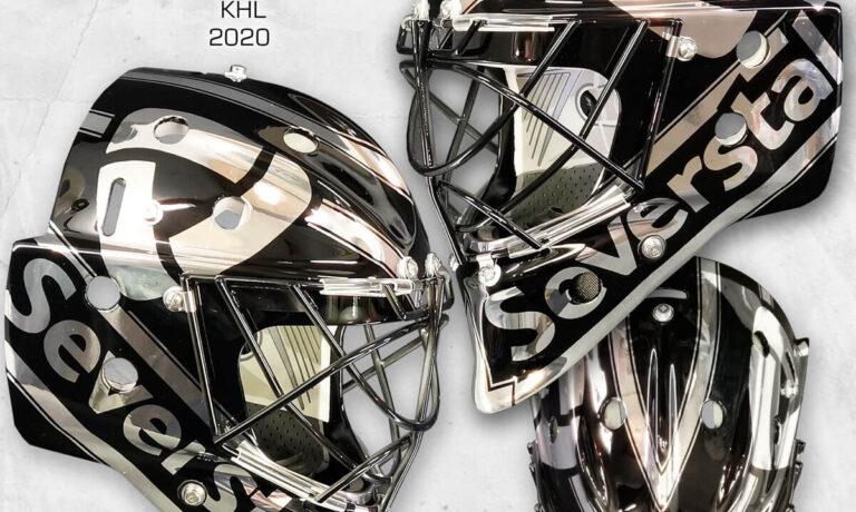 "Аэрография ""Black Metal"" на вратарском шлеме"
