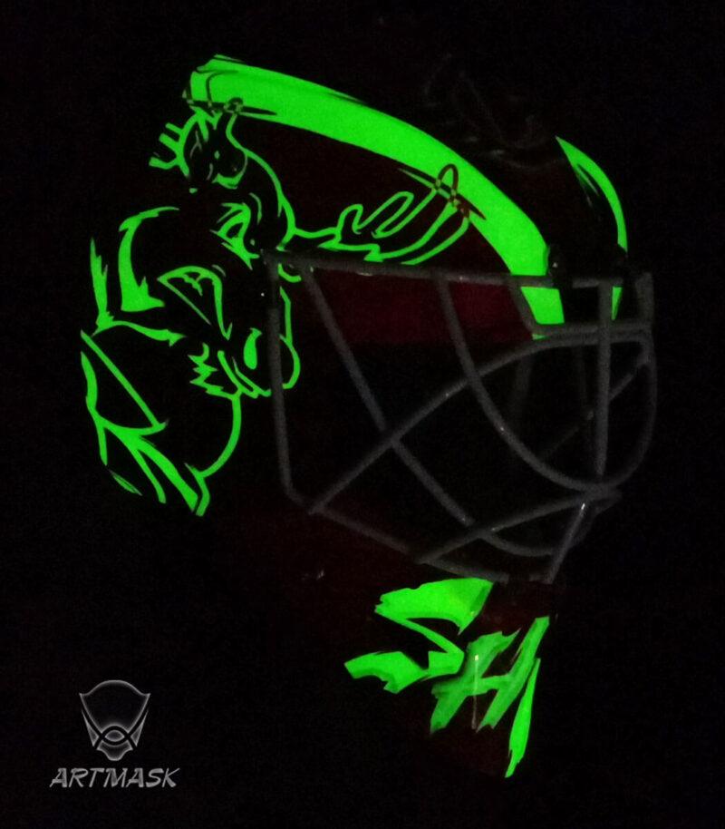"""Аэрография """"Ural Moose"""" на вратарском шлеме"""